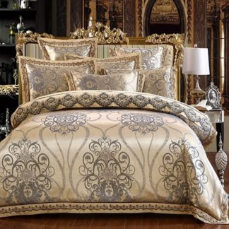 Silk Jacquard Cotton Lace Duvet Cover Set
